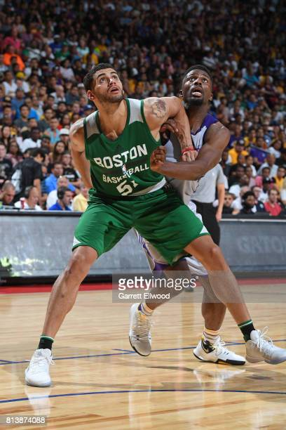 Abdel Nader of the Boston Celtics looks to rebound against the Los Angeles Lakers during the 2017 Las Vegas Summer League on July 8 2017 at the...