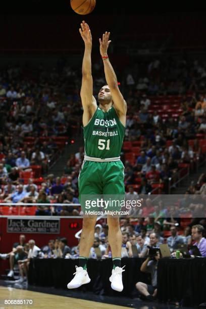 Abdel Nader of the Boston Celtics shoots the ball against the Philadelphia 76ers on July 3 2017 at Jon M Huntsman Center in Salt Lake City Utah NOTE...