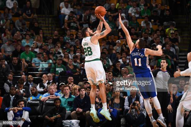 Abdel Nader of the Boston Celtics shoots the ball against the Philadelphia 76ers during the preseason game on October 9 2017 at the TD Garden in...