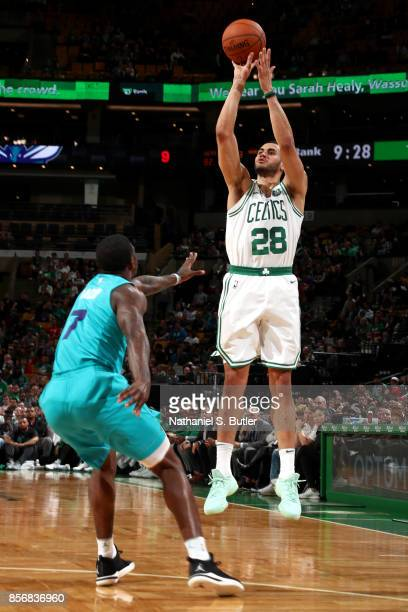 Abdel Nader of the Boston Celtics shoots the ball against the Charlotte Hornets on October 2 2017 at the TD Garden in Boston Massachusetts NOTE TO...