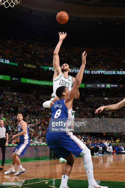 Abdel Nader of the Boston Celtics shoots the ball during the preseason game against the Philadelphia 76ers on October 9 2017 at the TD Garden in...