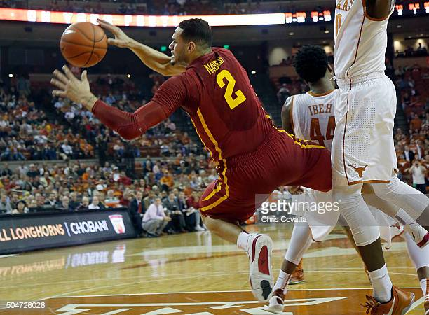Abdel Nader of the Iowa State Cyclones is fouled while driving to the basket against the Texas Longhorns at the Frank Erwin Center on January 12 2016...