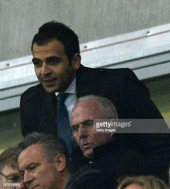 Abdel Rahman Ismaik brother of main investor Hasan Ismaik stands behind Sven Goran Eriksson during the Second Bundesliga match between 1860 Muenchen...