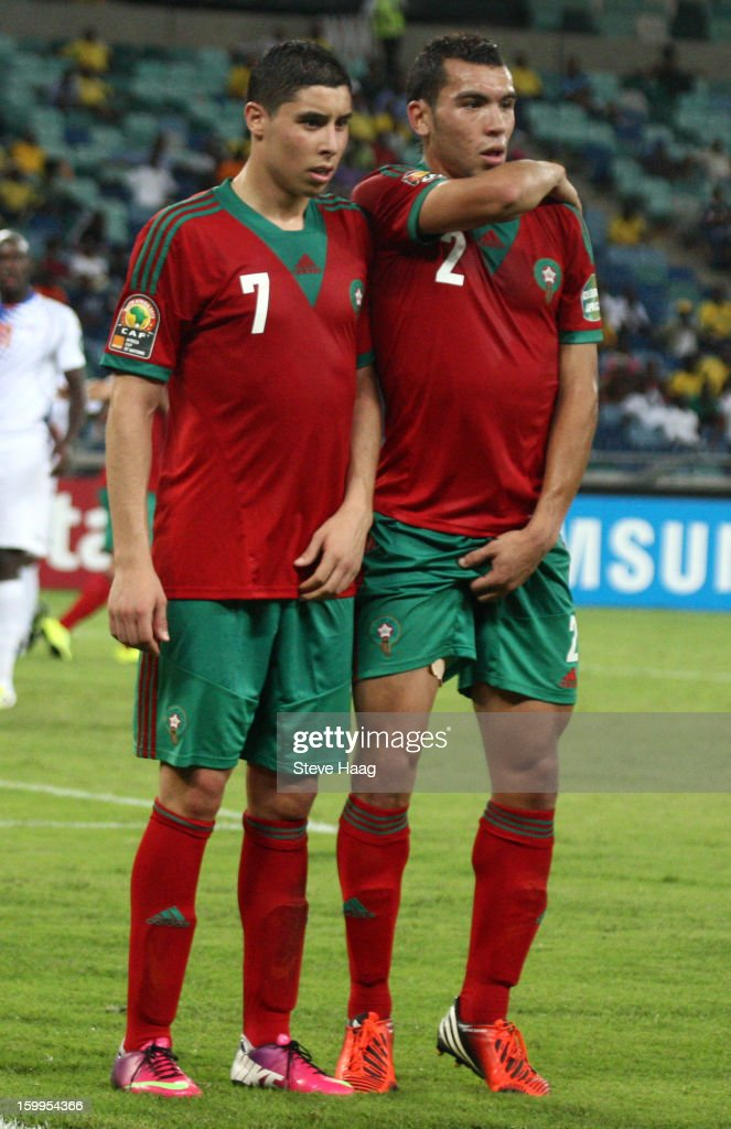 Abdelaziz Barrada and Abderrahim Chakir are shown in action during the 2013 African Cup of Nations match between Morocco and Cape Verde at Moses Mahbida Stadium on January 23, 2013 in Durban, South Africa.