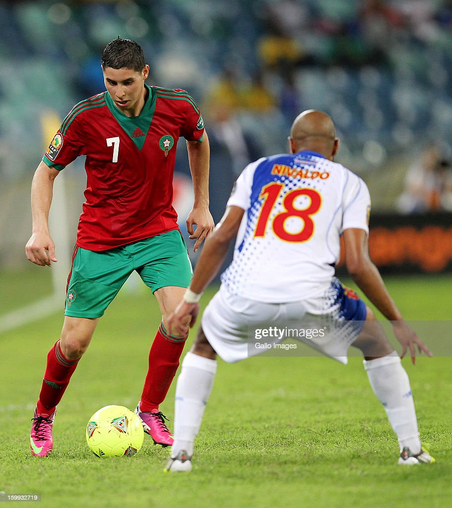 Abdelaziz Barrada of Morocco and Nivaldo Santos of Cape Verde during the 2013 African Cup of Nations match between Morocco and Cape Verde Islands from Moses Mabhida Stadium on January 23, 2012 in Durban, South Africa.