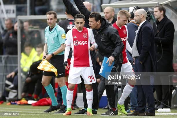 Abdelhak Nouri of Ajax Daley Sinkgraven of Ajax during the Dutch Eredivisie match between sbv Excelsior Rotterdam and Ajax Amsterdam at Woudenstein...