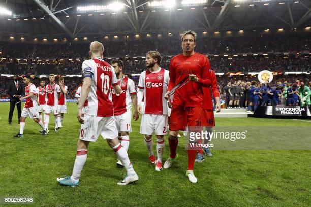 Abdelhak Nouri of Ajax David Neres of Ajax Daley Sinkgraven of Ajax Joel Veltman of Ajax Davy Klaassen of Ajax Amin Younes of Ajax Lasse Schone of...