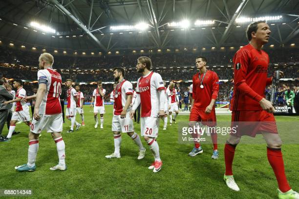 Abdelhak Nouri of Ajax Davy Klaassen of Ajax Daley Sinkgraven of Ajax David Neres of Ajax Joel Veltman of Ajax Justin Kluivert of Ajax Amin Younes of...