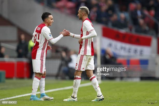 Abdelhak Nouri of Ajax Hakim Ziyech of Ajaxduring the Dutch Eredivisie match between Ajax Amsterdam and sc Heerenveen at the Amsterdam Arena on April...