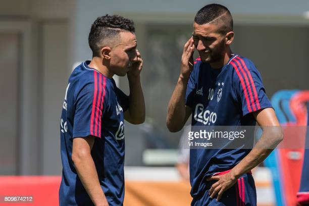 Abdelhak Nouri of Ajax Hakim Ziyech of Ajaxduring the preseason summer training camp of Ajax Amsterdam at Lindenstadion on July 06 2017 in Hippach...