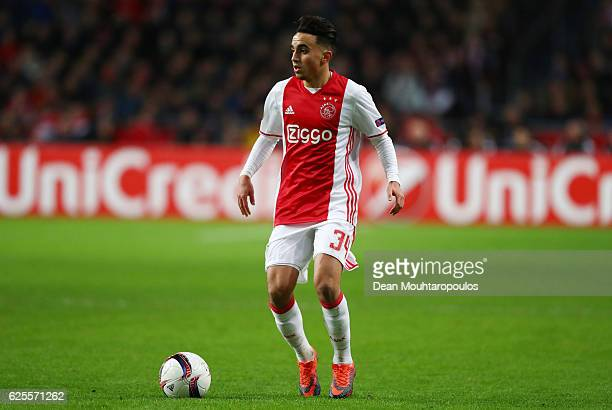 Abdelhak Nouri of Ajax in action during the UEFA Europa League Group G match between AFC Ajax and Panathinaikos FC at Amsterdam Arena on November 24...