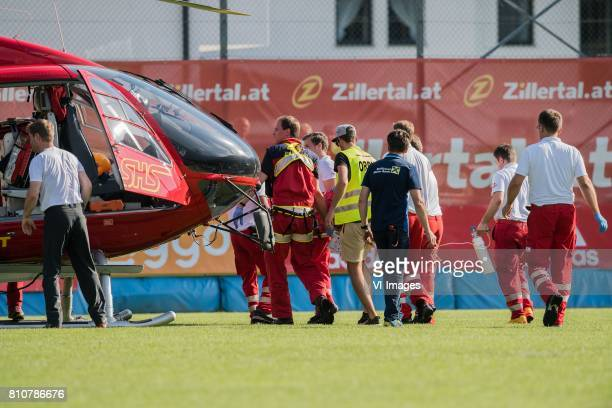 Abdelhak Nouri of Ajax is transported to the rescue helicopter during the friendly match between Ajax Amsterdam and SV Werder Bremen at Lindenstadion...