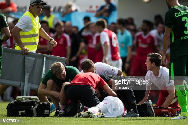 Abdelhak Nouri of Ajax is very badly injured during the friendly match between Ajax Amsterdam and SV Werder Bremen at Lindenstadion on July 08 2017...