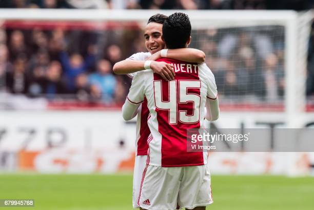 Abdelhak Nouri of Ajax Justin Kluivert of Ajaxduring the Dutch Eredivisie match between Ajax Amsterdam and Go Ahead Eagles at the Amsterdam Arena on...