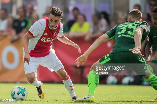 Abdelhak Nouri of Ajax Maximilian Eggestein of SV Werder Bremen during the friendly match between Ajax Amsterdam and SV Werder Bremen at...