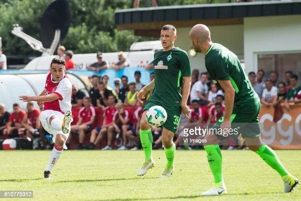 Abdelhak Nouri of Ajax tries to score during the friendly match between Ajax Amsterdam and SV Werder Bremen at Lindenstadion on July 08 2017 in...