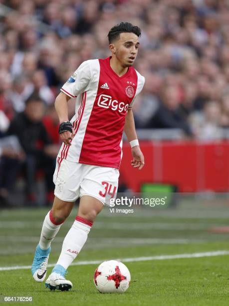 Abdelhak Nouri of Ajaxduring the Dutch Eredivisie match between Ajax Amsterdam and Feyenoord Rotterdam at the Amsterdam Arena on April 02 2017 in...