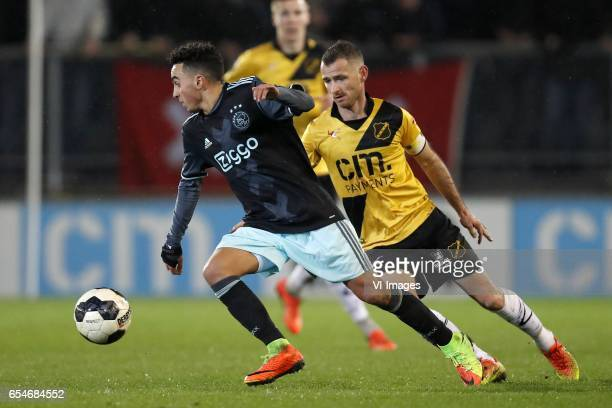 Abdelhak Nouri of Jong Ajax Arno Verschueren of NAC Breda Robbie Haemhouts of NAC Bredaduring the Jupiler League match between NAC Breda and Jong...