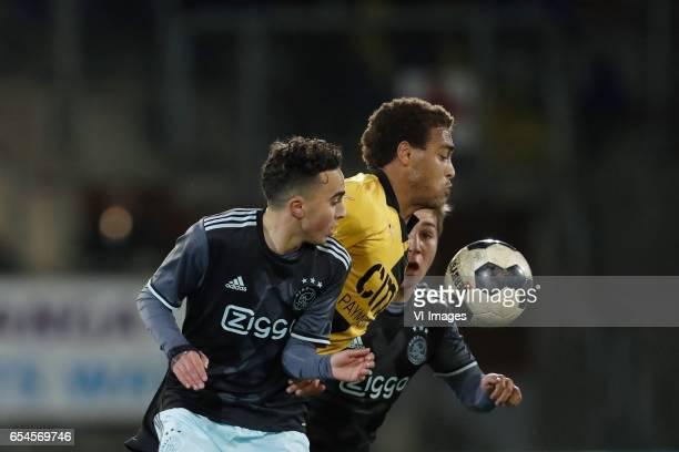 Abdelhak Nouri of Jong Ajax Cyriel Dessers of NAC Breda Carel Eiting of Jong Ajaxduring the Jupiler League match between NAC Breda and Jong Ajax...