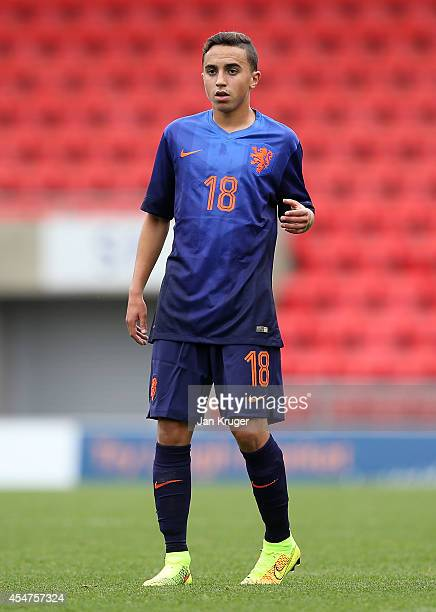 Abdelhak Nouri of Netherlands U18 in action during the U18 International Friendly match between England U18 and Netherlands U18 at Leigh Sports...