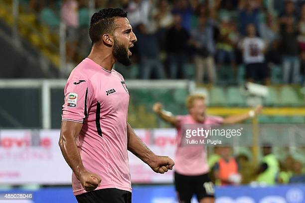 Abdelhamid El Kaoutari of Palermo celebrates after scores the opening goal during the Serie A match between US Citta di Palermo and Genoa CFC at...