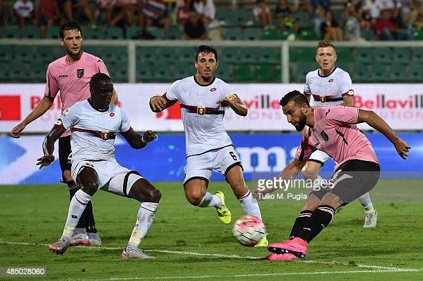 Abdelhamid El Kaoutari of Palermo scores the opening goal during the Serie A match between US Citta di Palermo and Genoa CFC at Stadio Renzo Barbera...