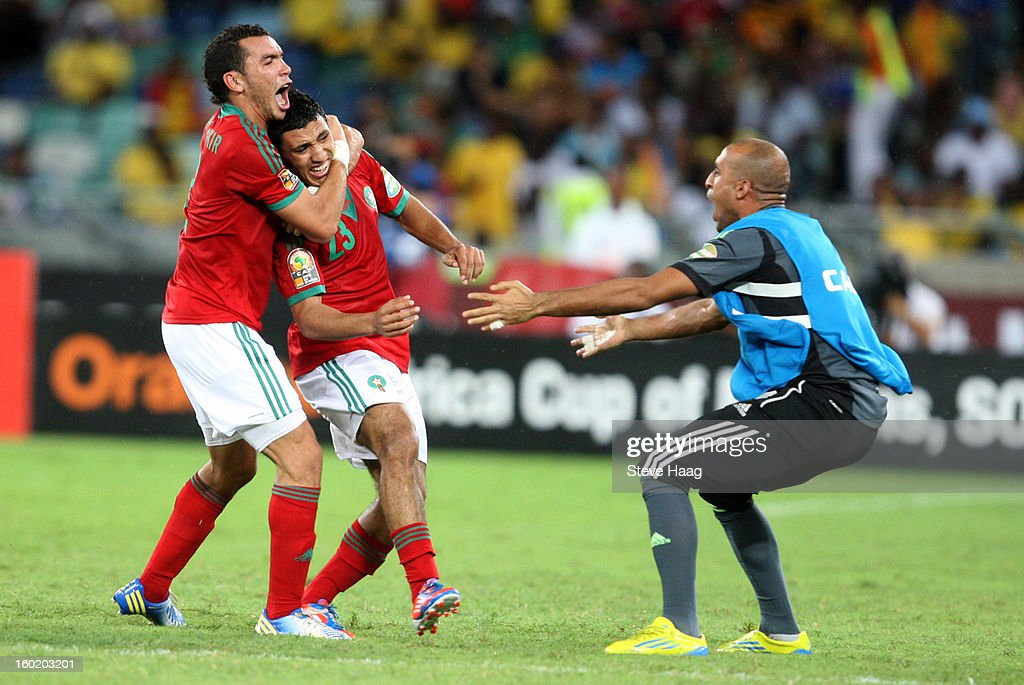 Abdelilah Hafid of Morocco celebrating after scoring during the 2013 African Cup of Nations match between Morocco and South Africa at Moses Mahbida Stadium on January 27, 2013 in Durban, South Africa.