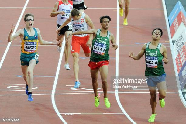 Abdellatif Baka and Fouad Baka of Algeria reacts after competing in the Men's 1500m T13 during day six of the IPC World ParaAthletics Championships...