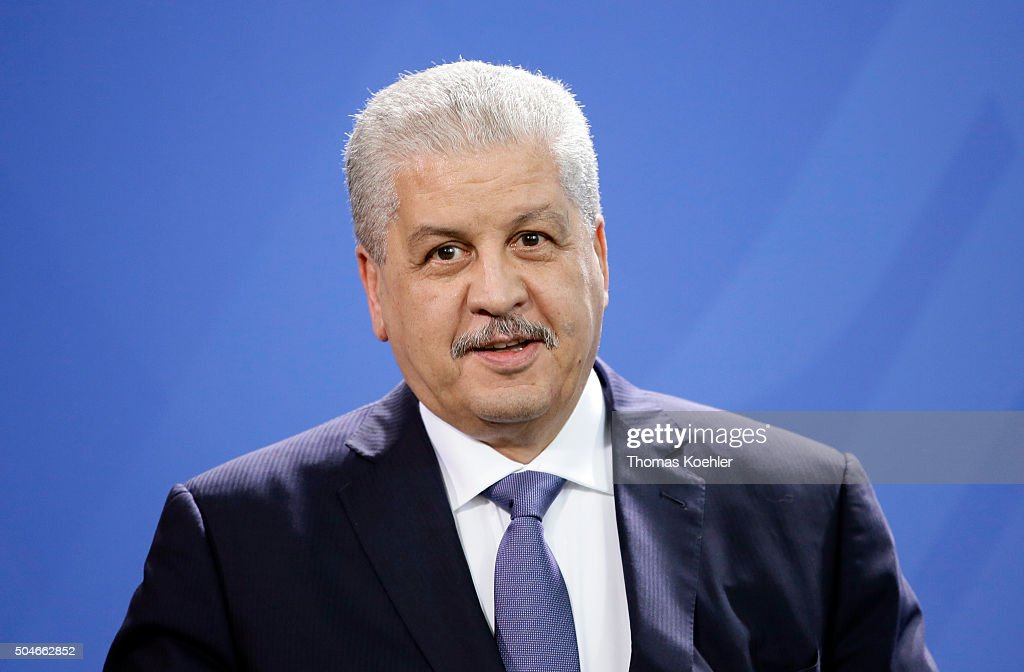 <a gi-track='captionPersonalityLinkClicked' href=/galleries/search?phrase=Abdelmalek+Sellal&family=editorial&specificpeople=3196882 ng-click='$event.stopPropagation()'>Abdelmalek Sellal</a>, Primeminister of Algeria, pictured during a press conference with German Chancellor Angela Merkel (unsseen) on January 12, 2016 in Berlin, Germany.