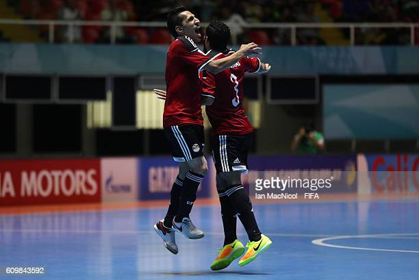 Abdelranham Elashwal of Egypt celebrates scoring his second goal with Ibrahim Eika during the FIFA Futsal World Cup Round of 16 match between Italy...