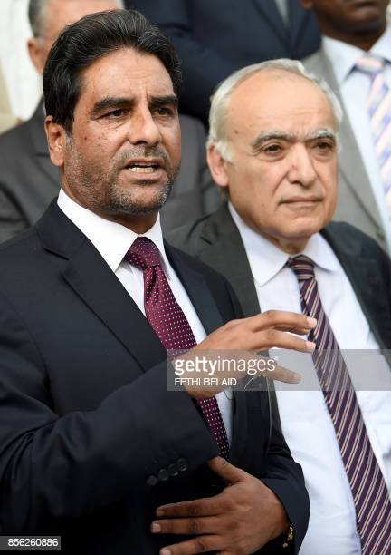 Abdessalam Nasiya chairman of the Libyan parliamentary dialogue committee speaks during a press conference with Ghassan Salame special representative...