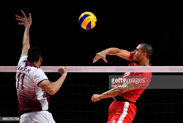 Abdessamad Benbekkar of Morocco spikes the ball in the Mens Volleyball Group B match between Qatar and Morocco during day eight of Baku 2017 4th...
