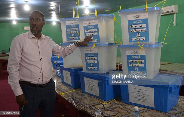 Abdi Ali Rage Chairman of the State Indirect Election Implementation Team speaks to the media after voting in Kismayo on November 15 2016 Somalia is...