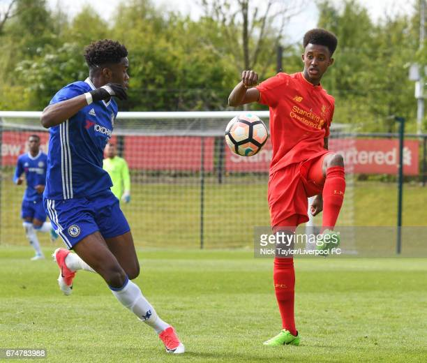 Abdi Sharif of Liverpool and Ike Ugbo of Chelsea in action during the Liverpool v Chelsea U18 Premier League game at The Kirkby Academy on April 29...
