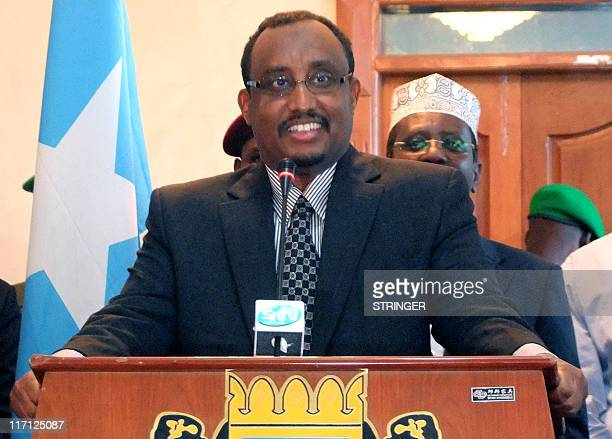Abdiweli Mohamed Ali speaks to members of the press after he was appointed as prime minister by Somali President Sharif Sheikh Ahmed replacing...