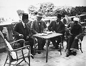 Abdl El Aziz Yehieh Bey Lord Carnarvon Mohamed Fahmy Bey Monour Markay on the Terrace of the WInter Palace Hotell