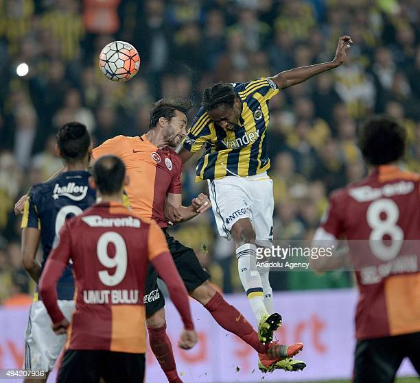 Abdolaye Ba of Fenerbahce in action against Bilal Kisa of Galatasaray during the Turkish Spor Toto Super League football match between Fenerbahce and...