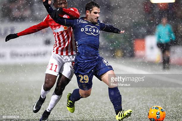Abdou Coulibaly of Nancy and Gilles Cioni of Bastia during the Ligue 1 match between AS Nancy Lorraine and SC Bastia at Stade Marcel Picot on January...