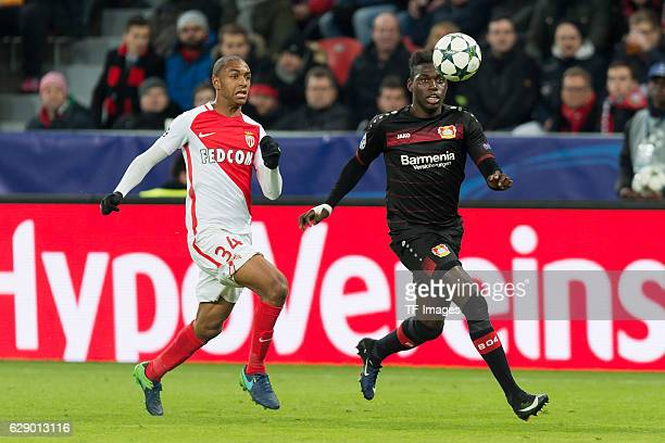 Abdou Diallo of Monaco and Danny da Costa of Leverkusen battle for the ball during the UEFA Champions League match between Bayer Leverkusen and AS...