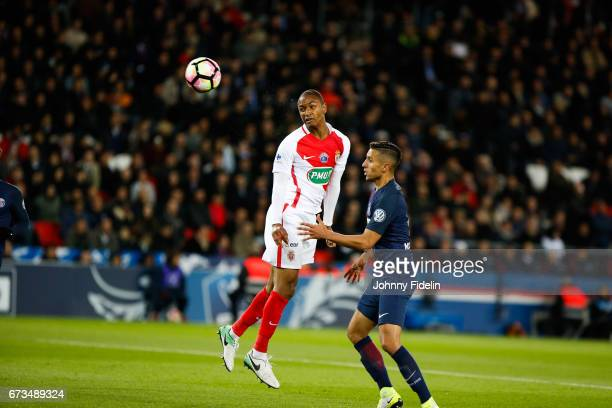 Abdou Diallo of Monaco close to score a goal during the Semi final of the French Cup match between Paris SaintGermain and As Monaco at Parc des...