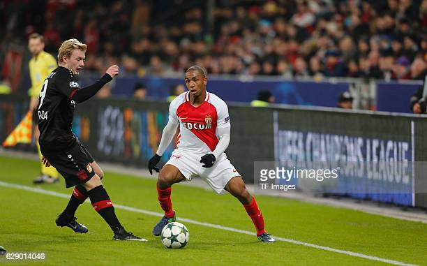 Abdou Diallo of Monaco in action and Julian Brandt of Leverkusen during the UEFA Champions League match between Bayer Leverkusen and AS Monaco at the...