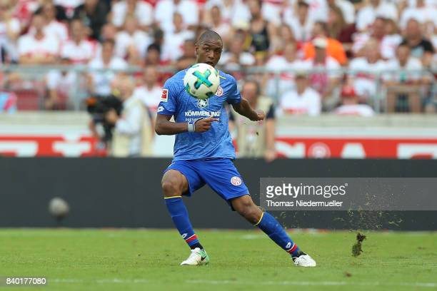 AbdouLakhad Diallo of Mainz in action with the ball during the Bundesliga match between VfB Stuttgart and 1 FSV Mainz 05 at MercedesBenz Arena on...
