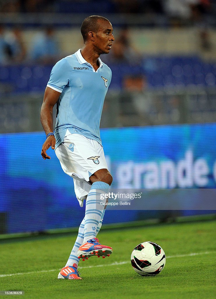 Abdoulay Konko of Lazio in action during the pre-season friendly match between SS Lazio and Getafe CF at Olimpico Stadium on August 11, 2012 in Rome, Italy.