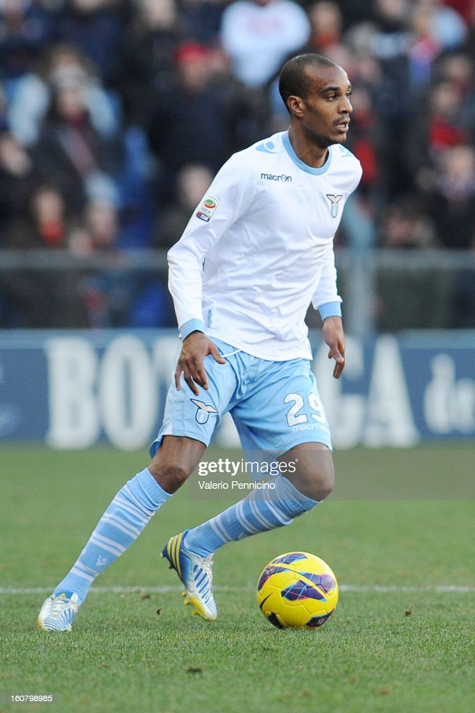 Abdoulay Konko of S.S. Lazio in action during the Serie A match between Genoa CFC and SS Lazio at Stadio Luigi Ferraris on February 3, 2013 in Genoa, Italy.