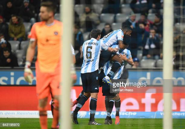 Abdoulaye Ba and his teammates of TSV 1860 Muenchen celebrate their side's first goal during the Second Bundesliga match between TSV 1860 Muenchen...