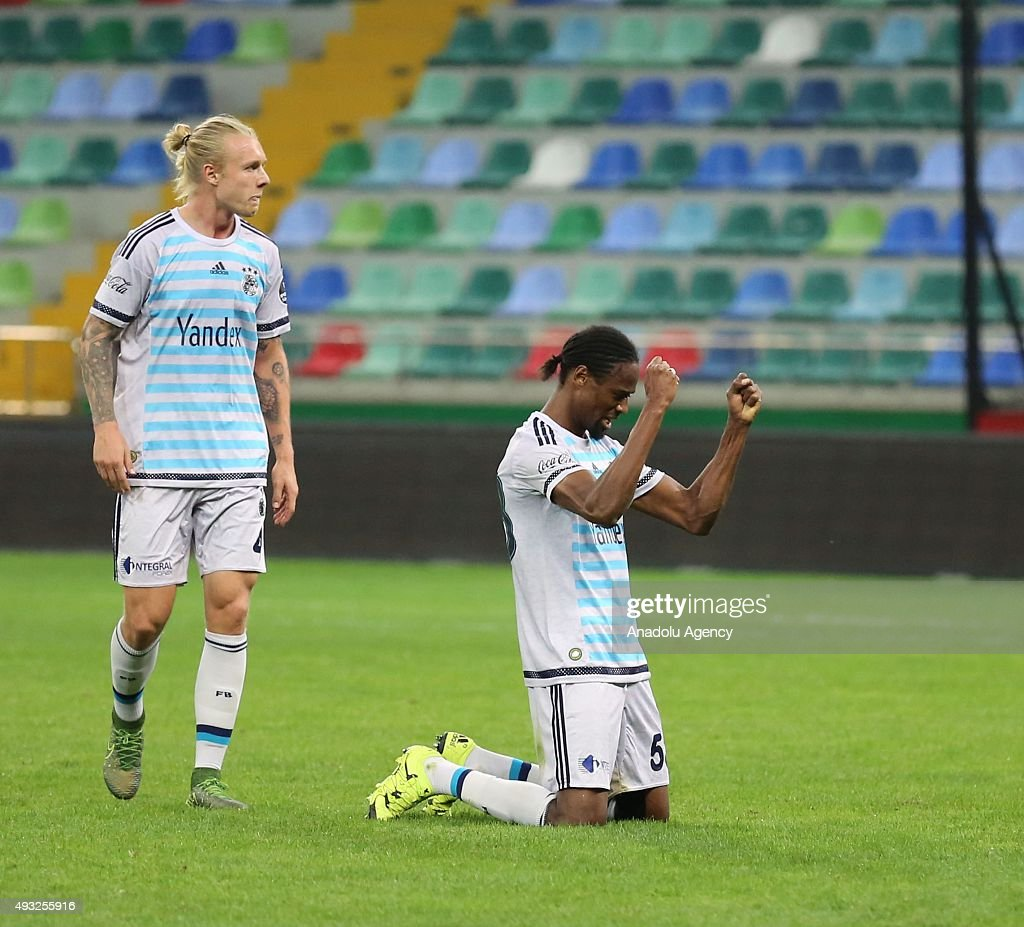 Abdoulaye Ba and Simon Kjaer of Fenerbahce celebrate after the Turkish Spor Toto Super League football match between Kayserispor and Fenerbahce at...