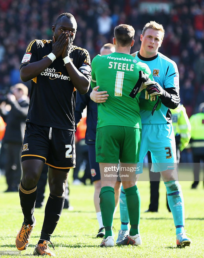 Abdoulaye Diagne-Faye of Hull City looks on after the npower Championship match between Barnsley and Hull City at Oakwell Stadium on April 27, 2013 in Barnsley, England.
