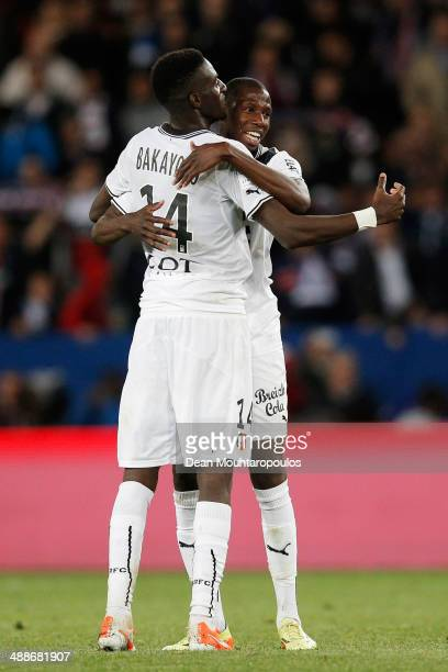 Abdoulaye Doucoure and Tiemoue Bakayoko of Rennais celebrate after victory in the Ligue 1 match between Paris SaintGermain FC and Stade Rennais FC at...