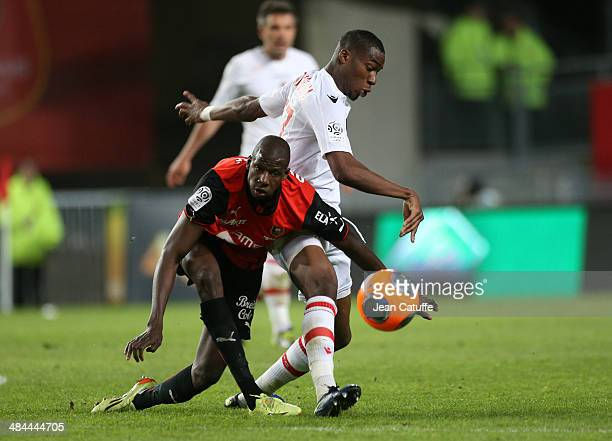 Abdoulaye Doucoure of Rennes and Geoffrey Kondogbia of Monaco in action during the french Ligue 1 match between Stade Rennais FC and AS Monaco FC at...