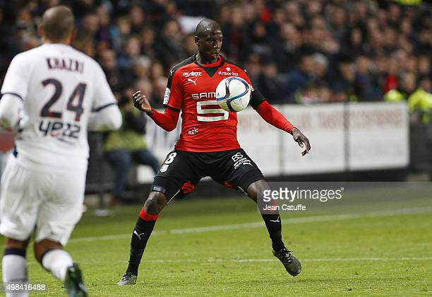 Abdoulaye Doucoure of Rennes in action during the French Ligue 1 match between Stade Rennais and Girondins de Bordeaux at Roazhon Park stadium on...
